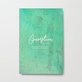 Gumption Definition - Word Nerd - Turquoise Texture Metal Print
