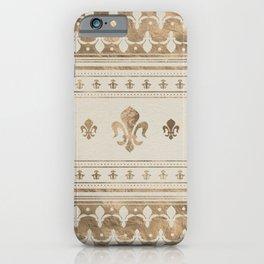 Fleur-de-lis Pastel Gold iPhone Case