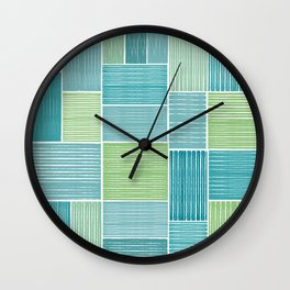 Turquoise & Lime Patches Wall Clock