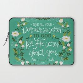 1 Peter 5:7 NLT Laptop Sleeve