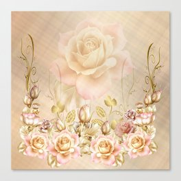 Blush Roses and Golden Leaves Canvas Print