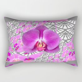 GREY & CERISE PINK ORCHID FLOWERS  WHITE PATTERN Rectangular Pillow
