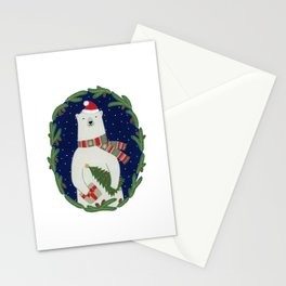 Polar bear with Christmas tree  Stationery Cards