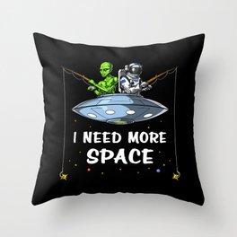 Alien Astronaut Fishing I Need More Space Fisherman Throw Pillow