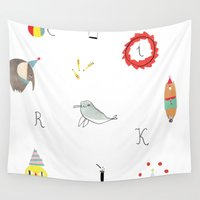 circus Wall Tapestries featuring circus by agata krolak