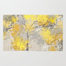 Abstract Yellow and Gray Trees Rug