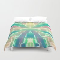 tron Duvet Covers featuring Cotton Candy Tron by Erica Anderson