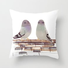 Pigeons in love Throw Pillow