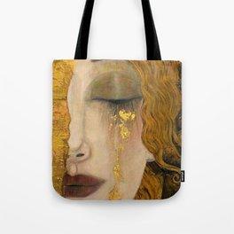 Golden Tears (Freya's Heartache) portrait painting by Gustav Klimt Tote Bag