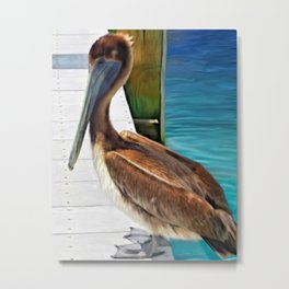 Dockside Pelican by Barbara Chichester Paintographer Metal Print