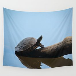 Turtle on The Lake (Color) Wall Tapestry