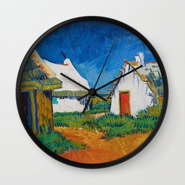 Three white cottages in Saintes-Maries by Vincent van Gogh Wall Clock