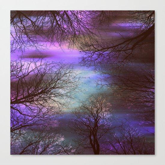 midnight trees purple green teal Canvas Print