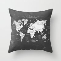 Throw Pillows featuring The World Map B/W by Mike Koubou