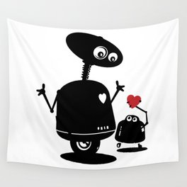 Robot Heart to Heart Wall Tapestry