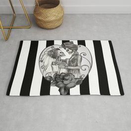 Striped Skeleton Love Couple Marriage Dance Rug