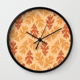 Autumn oak leaves and acorns pattern (Warm autumn colors) Wall Clock