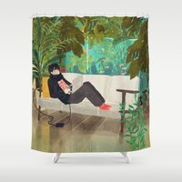 jungle Shower Curtains featuring jungle by Lara Paulussen