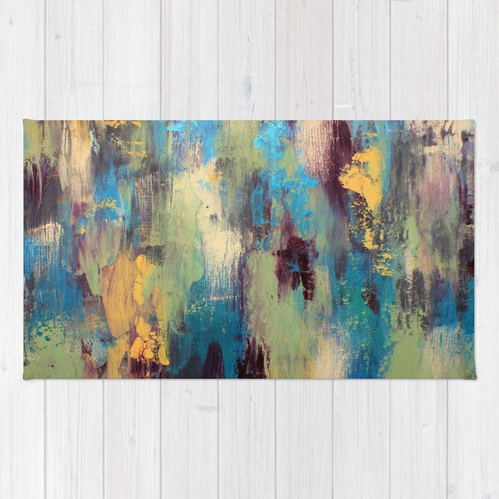 Palette Knife Paint Green Purple And Blue Rug