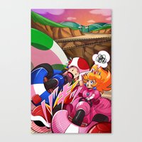 mario kart Canvas Prints featuring MARIO KART - YOSHI VALLEY by D.J. Kirkland