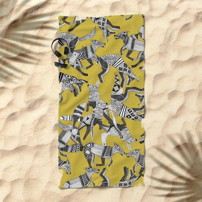 woodland fox party ochre yellow Beach Towel
