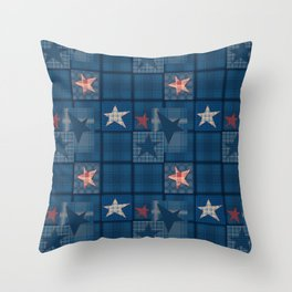Blue denim patchwork . Throw Pillow