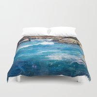 pacific rim Duvet Covers featuring Pacific Blue by Jenndalyn