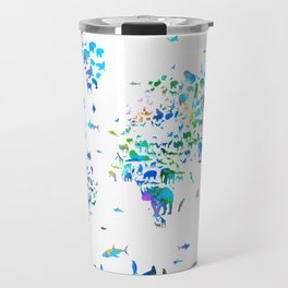 world map animals collage Travel Mug
