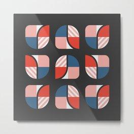Modern geometry colorful check pattern dark background Metal Print