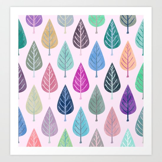 Watercolor Forest Pattern V Art Print