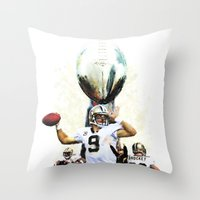 nfl Throw Pillows featuring Super New Orleans Saints NFL Football by jBowen
