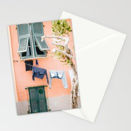 Photo of laundry in Portovenere, Cinque Terre Italy   Fine Art Colorful Travel Photography   Stationery Cards