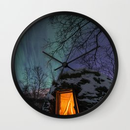 Northern Lights Over a Sami Goathi Wall Clock