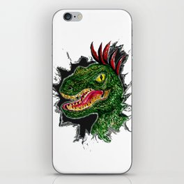 Watercolor velociraptor portrait iPhone Skin