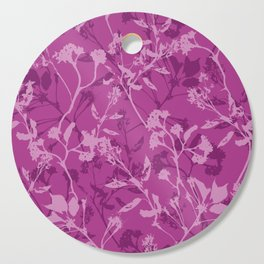 Purple flowers, leafs and plants Cutting Board
