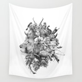 Kingdom of Monarchs (Black and White Version) Wall Tapestry