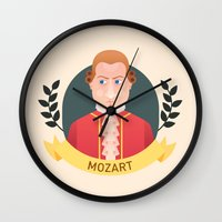 mozart Wall Clocks featuring Mozart by Espaco Ilusório