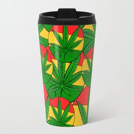 Feeling Sunny Rasta Green  ganja pattern, cannabis leafs, red, green, yellow colors Travel Mug