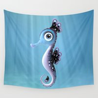 seahorse Wall Tapestries featuring Seahorse by Heidy Curbelo