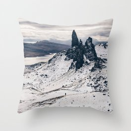 Old Man of Storr wrapped up in a blanket of snow Throw Pillow
