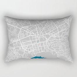 Tirana city map grey colour Rectangular Pillow