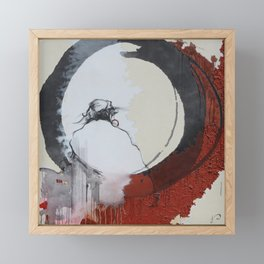 Zen Enso Daruma Buddhist Abstract Realism Painting Red Black and White  Framed Mini Art Print