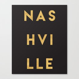 NASHVILLE TENNESSEE GOLD CITY TYPOGRAPHY Canvas Print
