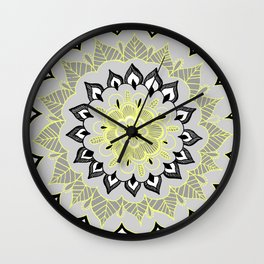 Lemon & Charcoal Lace Wall Clock