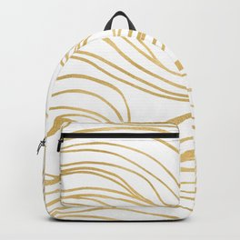 Gold Shimmer Swirls - Abstract Waves Backpack