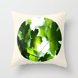 Green Baby Maple Leaves Round Photo Throw Pillow