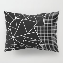 Abstract Grid Outline White on Black on Side Pillow Sham