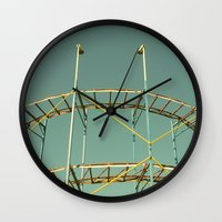 coasters Wall Clocks featuring rollercoaster by Bianca Green
