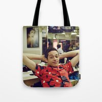 snl Tote Bags featuring Chill by F*** Me Pete Davidson