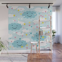 Children's pattern in happy clouds Wall Mural